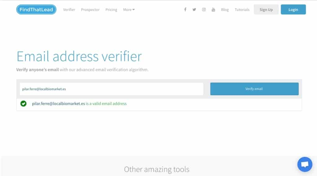 Verificar email con Find That Lead